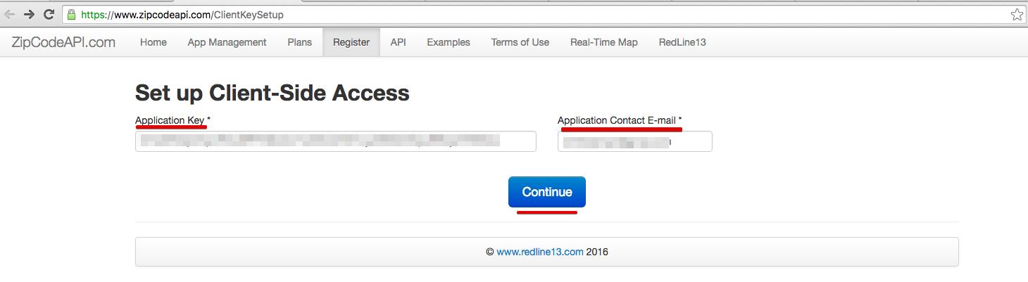 ZipCode API ClientSide Key